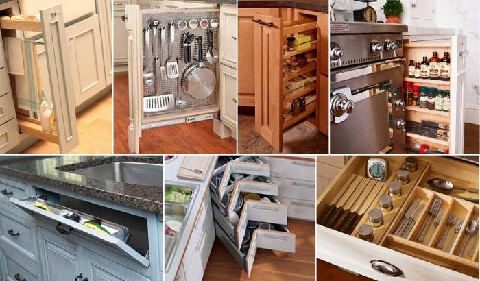 Выдвижные/откидные полки и ящики на кухне существенно облегчают поиски. | Фото: kitchenguide.su.