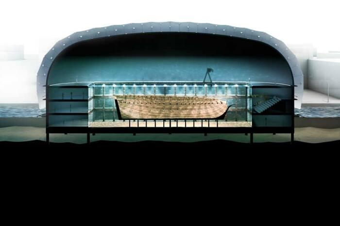 Торговое судно «Амстердам» извлекать из воды не станут, чтобы не повредить сохранившуюся конструкцию (концепт архстудии ZJA). | Фото: cfts.org.ua.