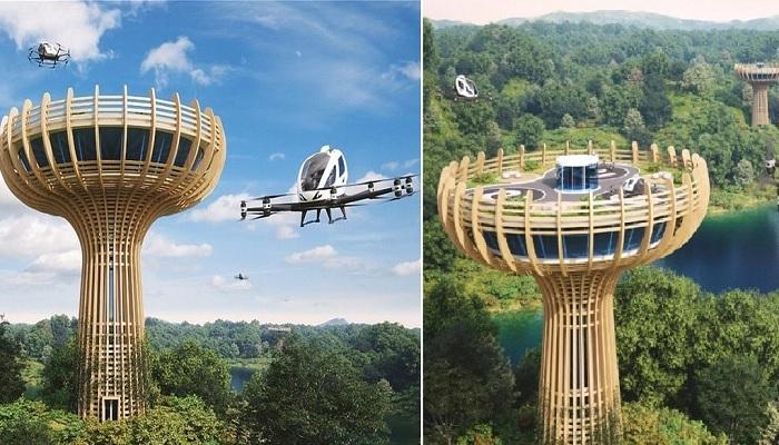 Будущее уже наступило: китайская компания разработала аэровокзал для беспилотных авиатакси (концепт Vertiport Baobab).