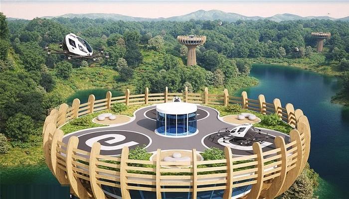 Энергонезависимый вертипорт будет вырабатывать электроэнергию до 300 кВт сутки (концепт Vertiport Baobab). | Фото: territoriosecreto.com.br.