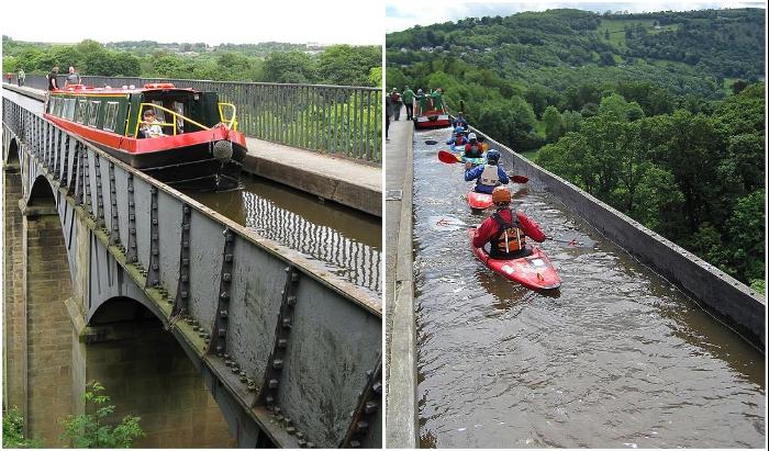 Впечатляющий рукотворный водный мост, проходящий над живописными местами, стал туристической достопримечательностью (Pontcysyllte Aqueduct, Великобритания)