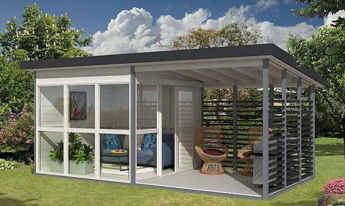 Летний домик с панорамными окнами и открытой террасой (Allwood Solvalla Studio Cabin). | Фото: topblogpost.com.