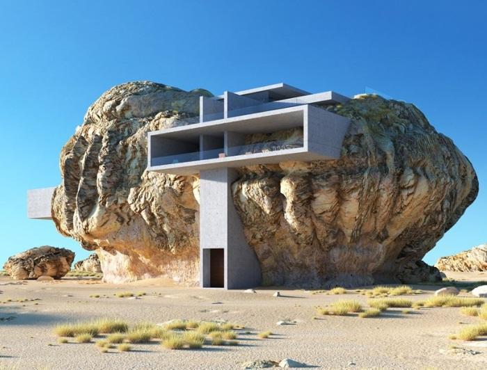 «Дом внутри скалы» органично внедрен в природную фактуру камня (Amey Kandalgaonkar). | Фото: designboom.com.