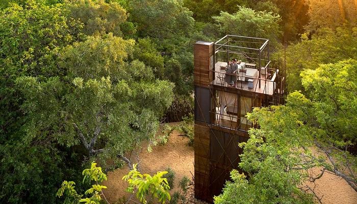 Открытая терраса на крыше 4-ярусного домика «Ngala Treehouse» расположена на уровне верхушек окружающих деревьев (Kruger National Park, ЮАР). | Фото: signatureluxurytravel.com.au.
