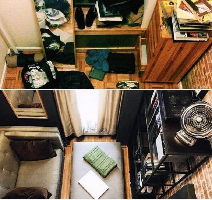 Как было в крошечной квартире при заселении, и как выглядит квартира сейчас. | Фото: oglobo.globo.com.