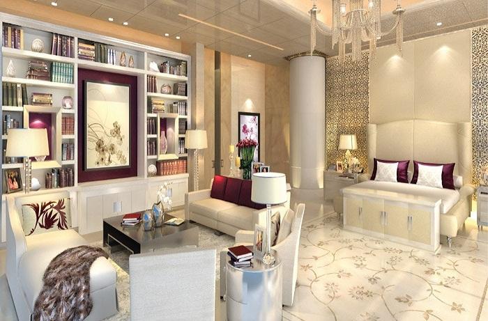 Роскошная спальня в апартаментах для гостей (Антилия, Индия).