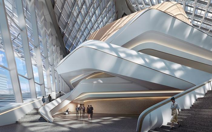 Фактурная структура крыши центра объединяет различные площадки под сетью перфорированных модулей (визуализация Zhuhai Jinwan Civic Art). | Фото: dezeen.com.
