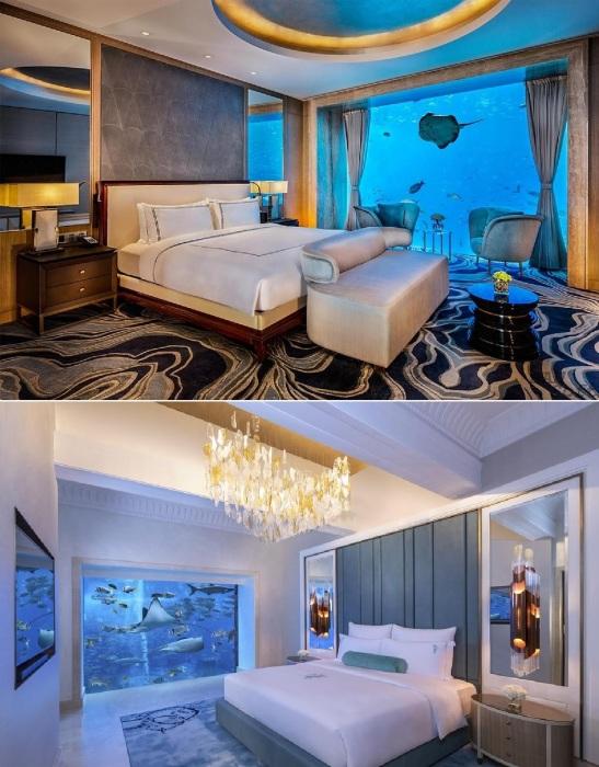 Спальные комнаты подводных номеров Посейдон и Нептун Atlantis the Palm 5 (Дубай, ОАЭ).