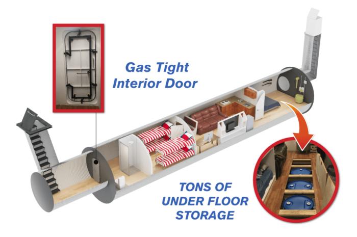 Схема размещения всех модулей и коммуникаций в подземном бункере (Бомбоубежище Atlas). | Фото: war.org.ua.