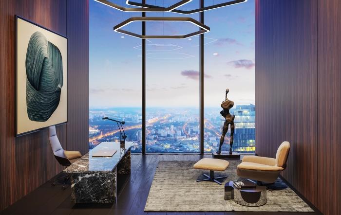 Кабинет расположен на третьем уровне пентхауса («Платиновые апартаменты», «Башня «Восток»). | Фото: башняфедерация.рф.
