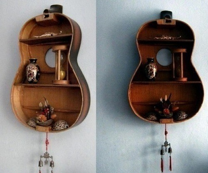 Даже старую гитару можно приспособить под полочки.