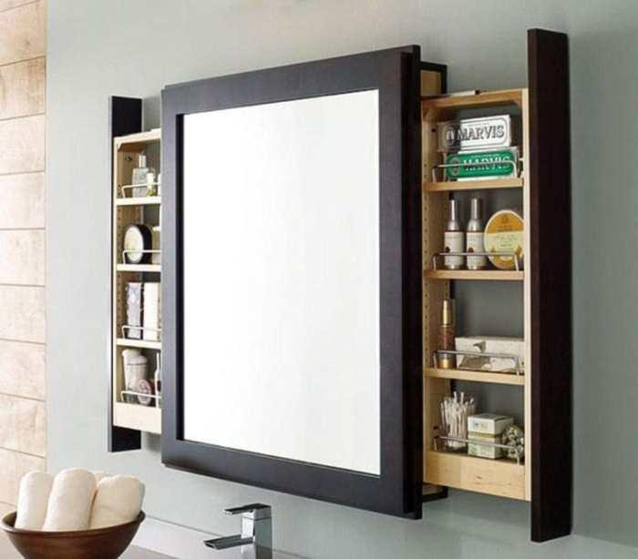 Зеркало с выдвижными полками – идеальная система хранения для гигиенических и уходовых средств. | Фото: cpykami.ru.