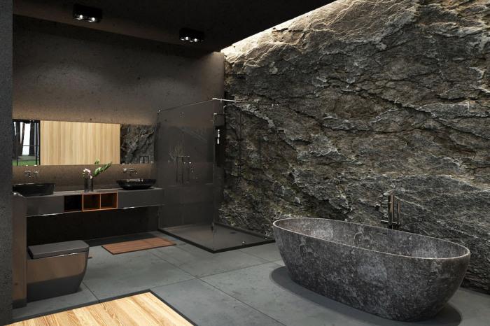 Эффектная ванная комната лесного особняка Black Villa от популярного иранского архитектора Reza Mohtashami.   Фото: mymodernmet.com.