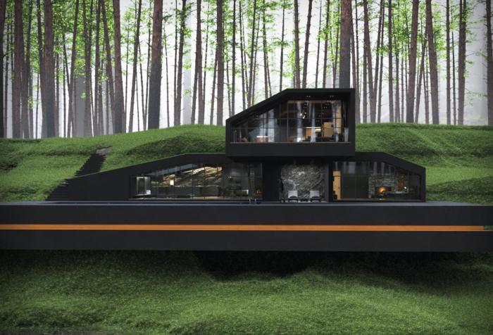 Таинственная «Черная вилла» – концепт загородного особняка в заповедных лесах Нью-Йорка от архитектора Reza Mohtashami.   Фото: blessthisstuff.com.