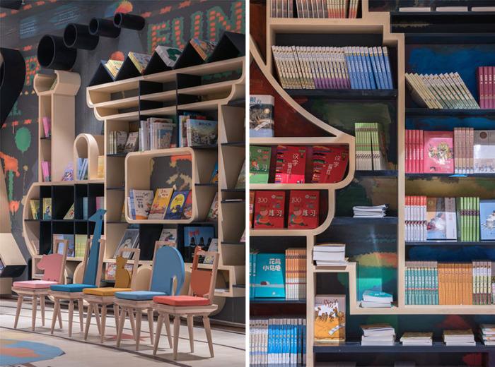 Книжные полки и стеллажи имеют причудливую форму (Книжный магазин в Ханчжоу, Китай). | Фото: decorpro.blog.