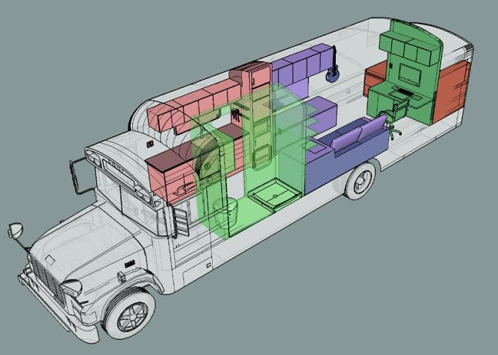 План реконструкции старого школьного автобуса.