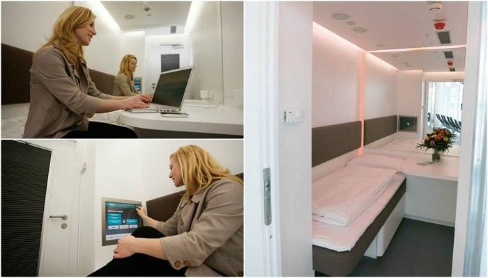 Внутри комнаты отдыха модели NapCabs.