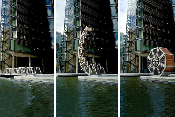 В пятницу, ровно в полдень, начинается фантастическое представление с пешеходным мостом в главной роли (Rolling Bridge, Лондон). | Фото: lamtrip.com.