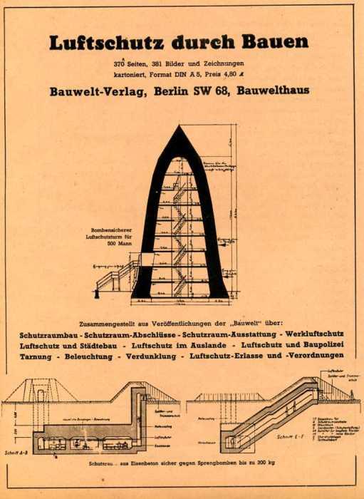 План-чертеж уникального в своем роде бомбоубежища «Winkelturme», созданного архитектором Лео Винкелем. | Фото: ursa-tm.ru.