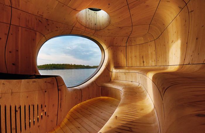 На берегу канадского озера San Souci появилась чудо-сауна, интерьер которой больше напоминает скульптурное пространство («Grotto»). hqroom.ru.