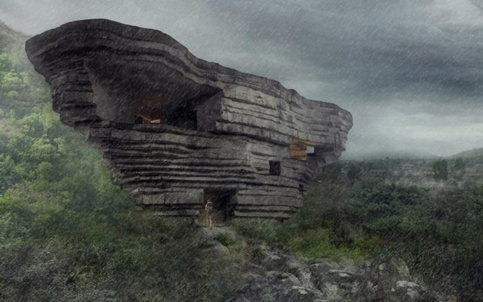 Компания OPEN Architecture создала уникальный проект открытого концертного зала в долине между скал (визуализация «Chapel of Sound»). | Фото: visualatelier8.com.