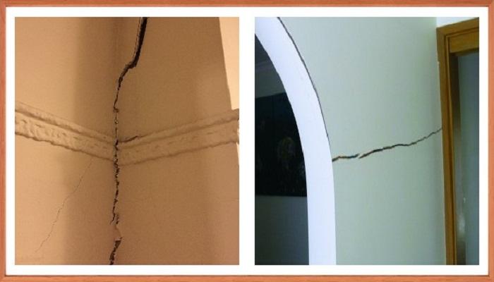 Трещины внутренних стен при неправильных работах.