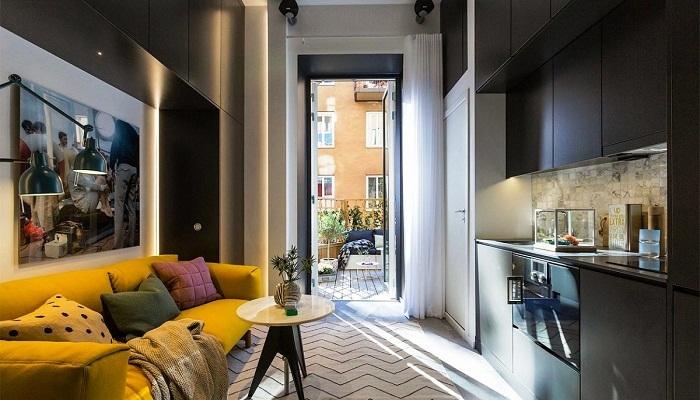 Неординарный и стильный интерьер крошечной квартиры.