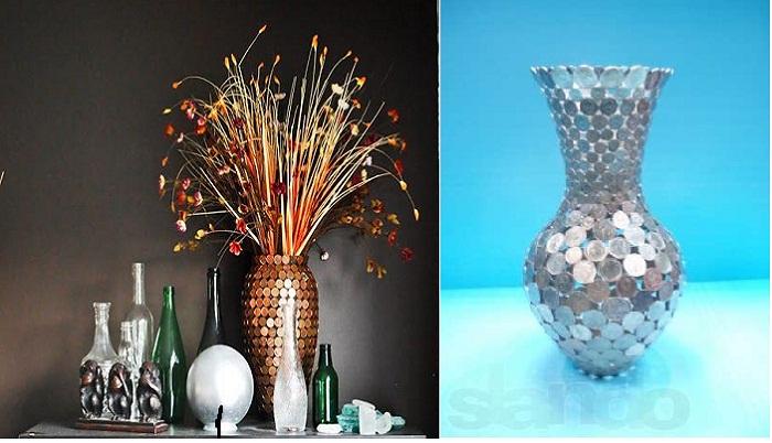 Варианты оформления ваз монетами.
