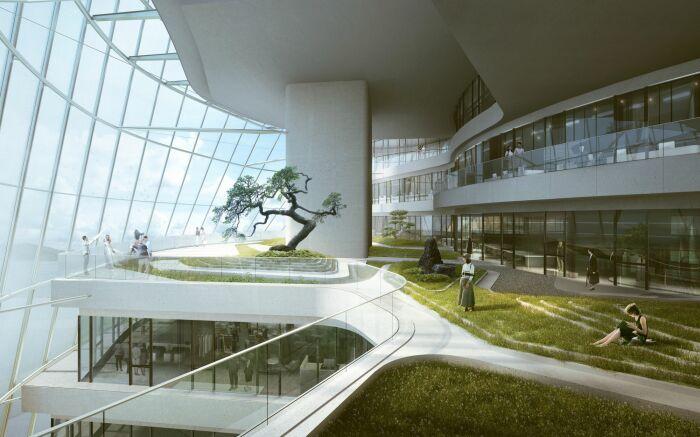 Доступность к природе будет сочетаться с комфортным пространством для работы (визуализация рабочего пространства, MAD Architects). | Фото: arch2o.com.