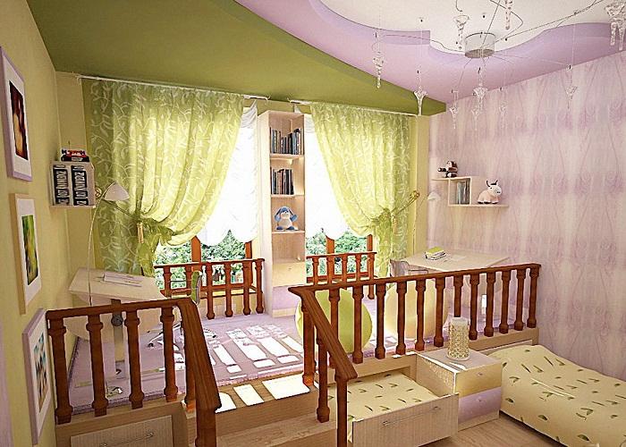 Вариант разделения на зоны интерьера детской комнаты.