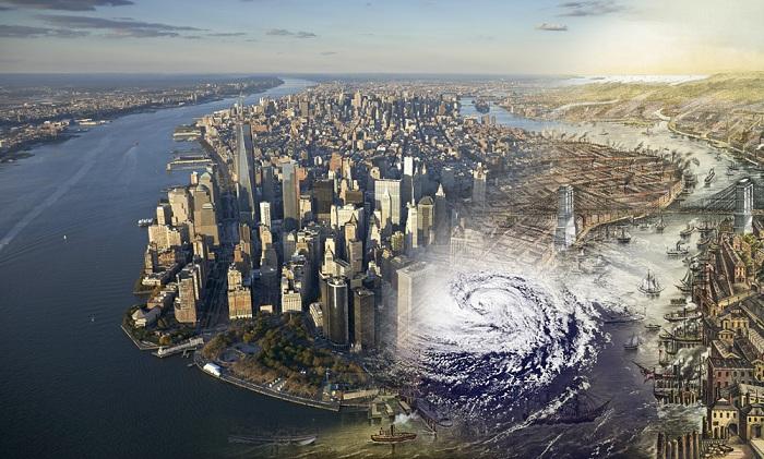 Через 4 века остров превратился в мегаполис (Манхэттен, США).