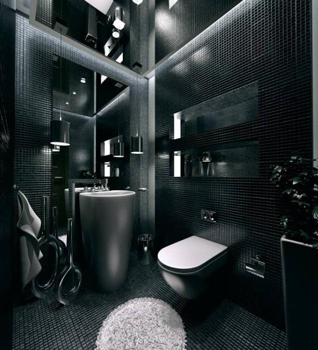 Маленький туалет оформлять в такой цветовой гамме вовсе не желательно.