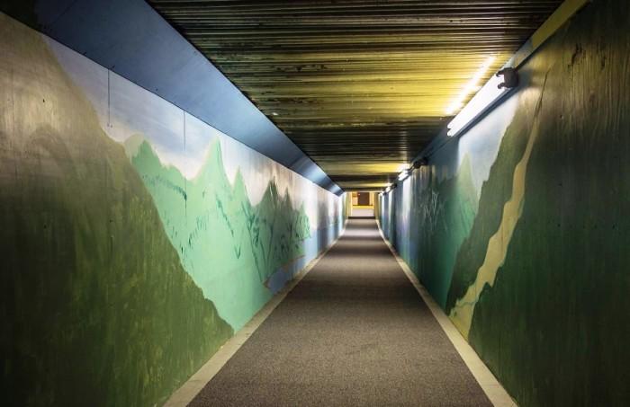 В зимнюю пору дети могут попасть в школу только через туннель (Whittier, Аляска). | Фото: dlyakota.ru.