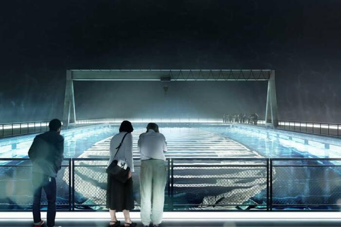 Главный вход в музей, как и часть экспозиции будут находиться над водой (концепт архстудии ZJA). | Фото: birdinflight.com.