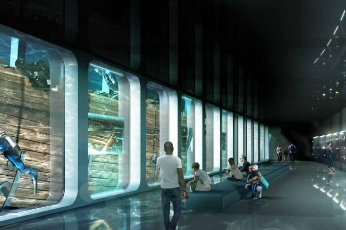 Посетители музея смогут наблюдать за работой сотрудников научных лабораторий и водолазов (концепт архстудии ZJA). | Фото: birdinflight.com.