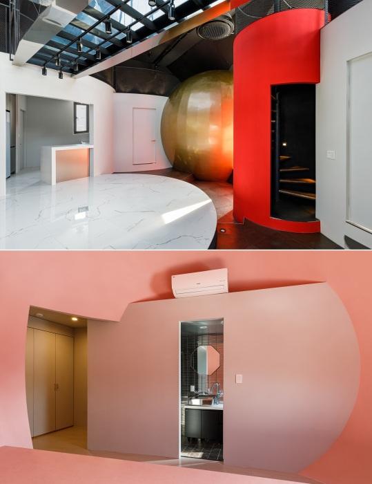 В дизайне жилого пространства явно просматривается космическая тематика.