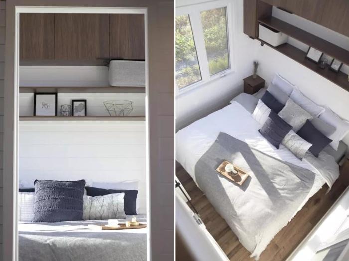Основная спальня находится на нижнем уровне автодома (Magnolia V8). | Фото: treehugger.com.