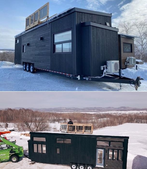 Компания Minimaliste превратила одну из своих моделей tiny house в комфортабельную виллу с террасой на крыше (Magnolia V8).