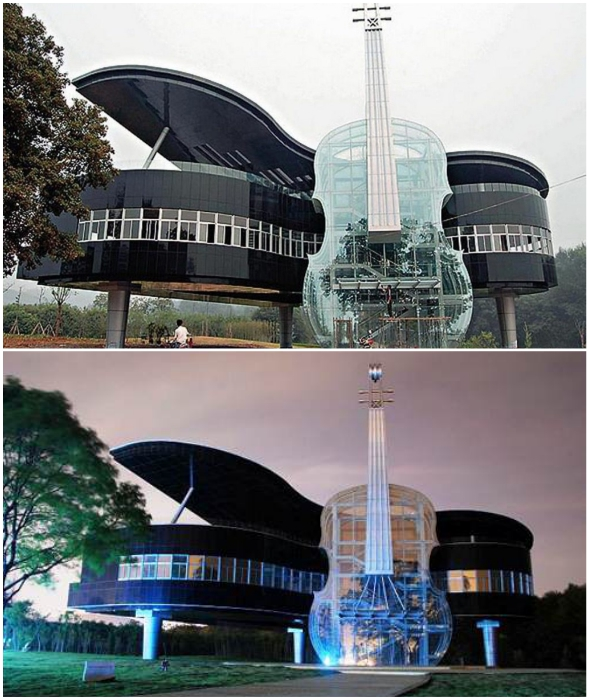 Впечатляющая уникальность Рiano and Violin Shaped Building действительно неоспорима (Хуайнань, Китай).