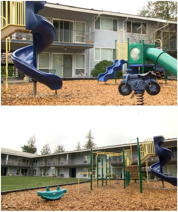 Благодаря проведенной акции, у детишек комплекса теперь есть классная игровая площадка (Trinity Place, Линвуд).