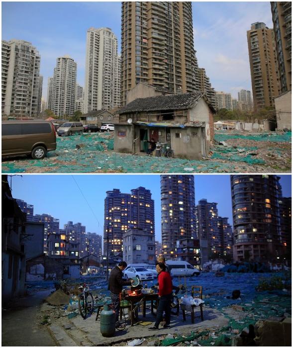 «Собственный квартал» скромных хижин среди элитного района Шанхая (Китай). | Фото: cnrmidipyrenees.blogspot.com.