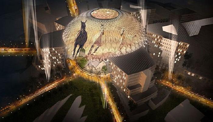 Фантастическая подсветка зданий в District 2020.