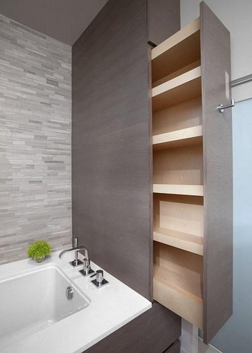 Выдвижной шкаф в ванной комнате.