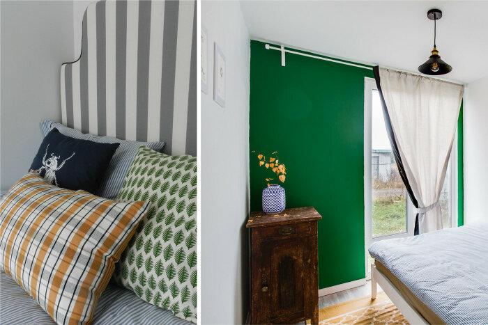 Яркая акцентная стена и потрепанная годами тумбочка прекрасно уживаются в небольшом пространстве гостевой спальни. | Фото: behance.net.