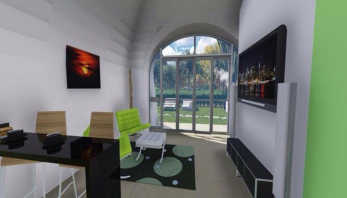 Интерьер объединенной гостиной и столовой.