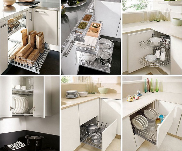 Современные выдвижные ящики на кухне.