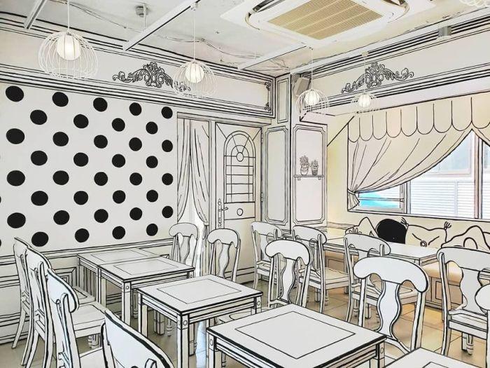 Это не эскиз интерьера – это самый настоящий зал «2D Cafe» (Токио). | Фото: lifter.com.ua.