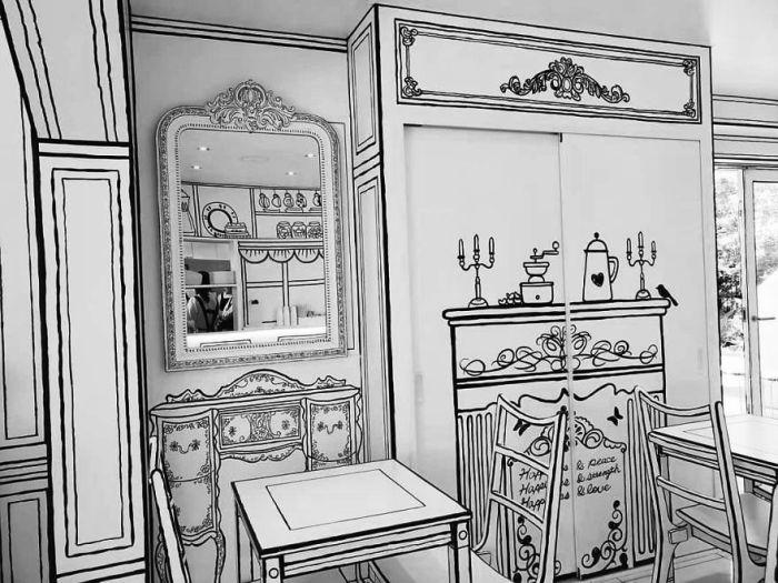 Каждый предмет интерьера похож на эскизный рисунок. | Фото: lifter.com.ua.