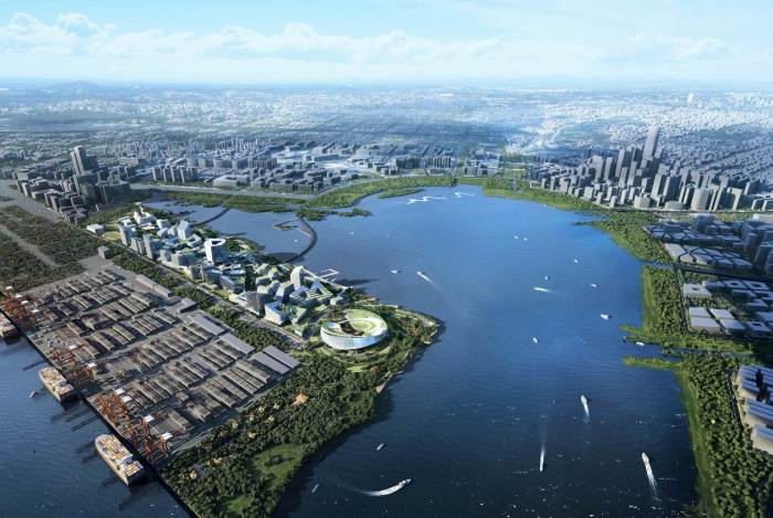 Город-будущего «Net City» будет построен на участке мелиорированных земель вдоль залива Дачань в Шэньчжэне (Китай). | Фото: eyeshenzhen.com/ © NBBJ.
