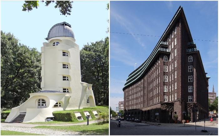 Работы экспрессионистов начала XX в. («Башня Эйнштейна» Э. Мендельсона и «Чилихаус» в Гамбурге Ф. Хегера).
